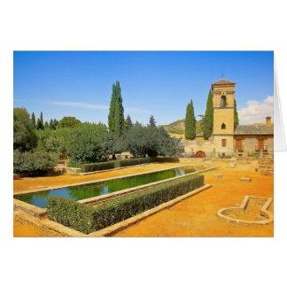 グラナダ、スペインのLaアルハンブラの庭 カード