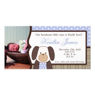 グラハムクラッカーの男の子の青い写真の誕生の発表 カード
