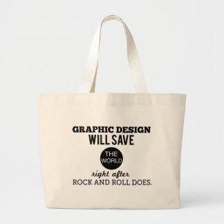 グラフィック・デザインは世界のマグのバッグを救います ラージトートバッグ