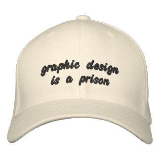 グラフィック・デザインは刑務所です 刺繍入りキャップ