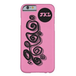 グラフィック、モノグラムの黒、ピンクB/C phone/cは渦巻きます Barely There iPhone 6 ケース