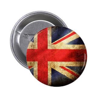 グランジなイギリスの旗ボタン 5.7CM 丸型バッジ