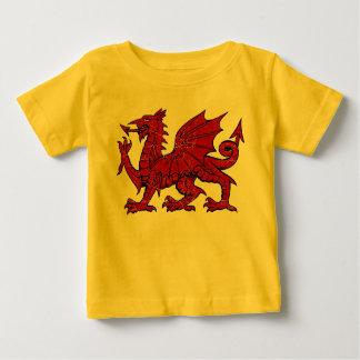 グランジなウェールズのドラゴン-ベビーのTシャツ ベビーTシャツ