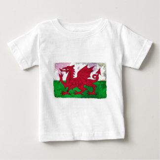 グランジなウェールズの旗 ベビーTシャツ