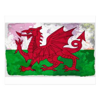 グランジなウェールズの旗 ポストカード