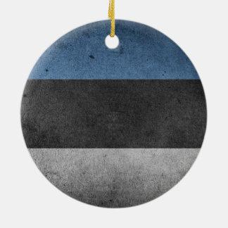 グランジなエストニアの旗 陶器製丸型オーナメント