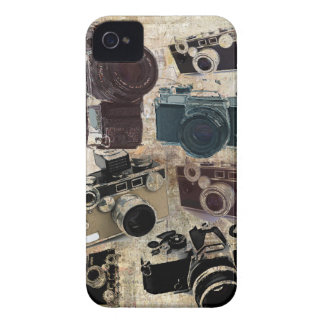 グランジなカメラマンの写真撮影のヴィンテージのカメラ Case-Mate iPhone 4 ケース