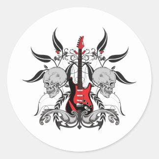 グランジなギターおよびスカル ラウンドシール
