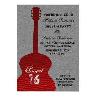 グランジなギターの赤いストライプなSweet sixteenの招待 カード