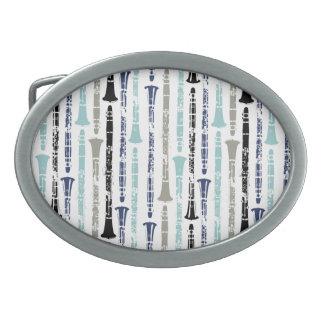 グランジなクラリネット-青および灰色 卵形バックル