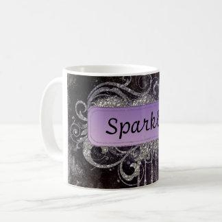 グランジなグリッターのサロンの黒の紫色のヴィンテージのマグ コーヒーマグカップ