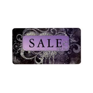 グランジなグリッターのサロンの黒の紫色の販売の住所 ラベル
