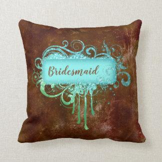 グランジなグリッターのブラウンの青いヴィンテージの銅の枕 クッション