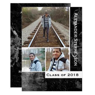 グランジなコンクリート3の写真の男の子の人の2018年の卒業 カード