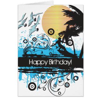 グランジなサーフィンのビーチのサーファーのハッピーバースデー グリーティングカード