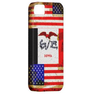 グランジなスタイルアイオワおよび米国の旗 iPhone SE/5/5s ケース
