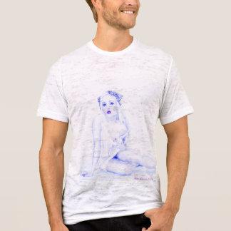 グランジなセクシーな裸のレトロのヴィンテージのピンナップの女の子の焼損 Tシャツ