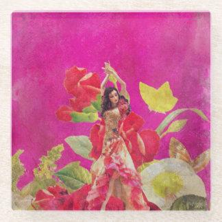 グランジなダンサーのばら色の花 ガラスコースター