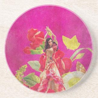 グランジなダンサーのばら色の花 コースター