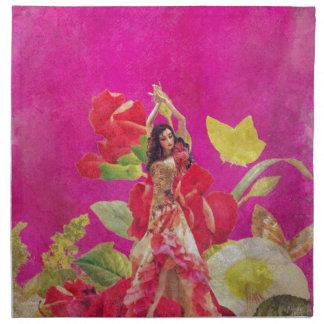 グランジなダンサーのばら色の花 ナプキンクロス