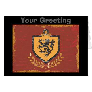 グランジなデザインライオンの盾の紋章付き外衣 カード
