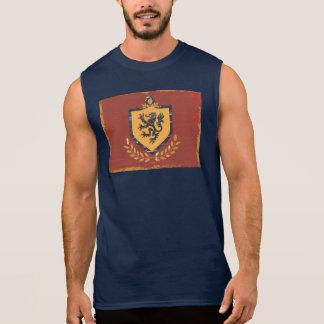 グランジなデザインライオンの盾の紋章付き外衣 袖なしシャツ