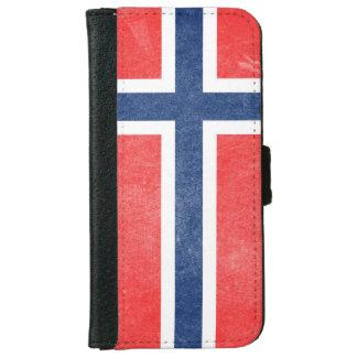 グランジなノルウェーの旗 iPhone 6/6S ウォレットケース