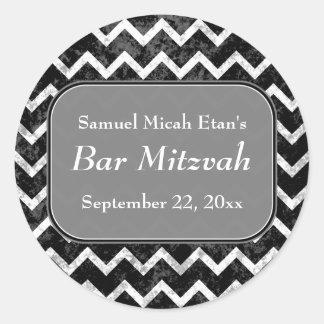 グランジなパターン白黒シェブロンのバー(ユダヤ教の)バル・ミツバー ラウンドシール