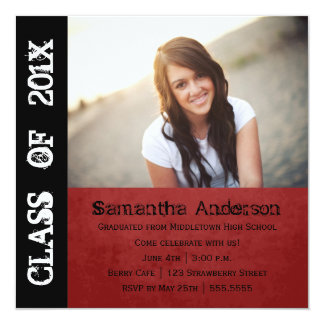 グランジなパンクロックの卒業の招待状-赤 カード