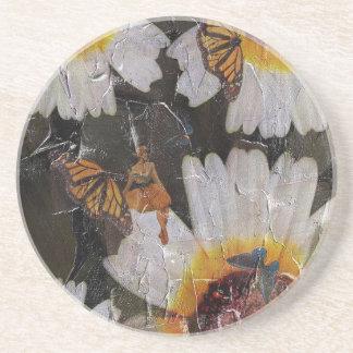 グランジなヒマワリの女性の蝶 コースター