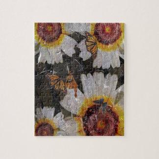 グランジなヒマワリの女性の蝶 パズル
