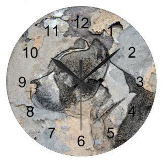 グランジなピットブルテリア ラージ壁時計