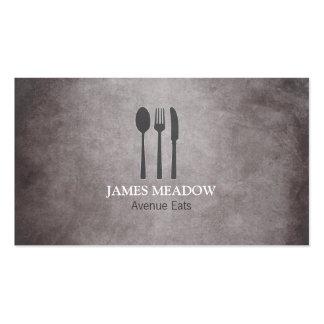 グランジなフォークのナイフのスプーンのレストランのカフェのケータリング スタンダード名刺