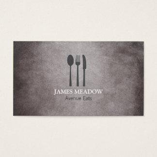 グランジなフォークのナイフのスプーンのレストランのカフェのケータリング 名刺
