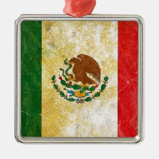グランジなメキシコの旗 メタルオーナメント