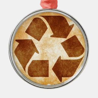 グランジなリサイクルの印 メタルオーナメント