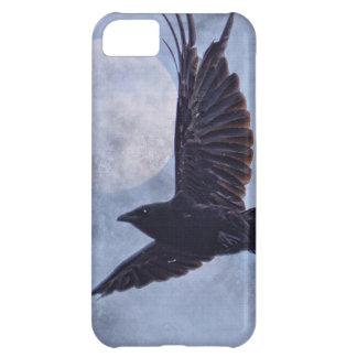 グランジなワタリガラス及び月のLt Blue Art Design iPhone5Cケース