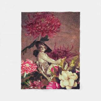 グランジなヴィンテージの女性のガラス花のコラージュ フリースブランケット