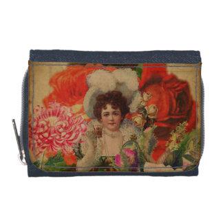 グランジなヴィンテージの女性の花のコラージュ ウォレット