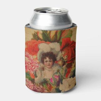 グランジなヴィンテージの女性の花のコラージュ 缶クーラー