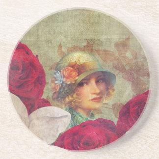 グランジなヴィンテージの女性の花のバラ コースター