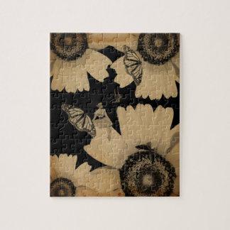 グランジなヴィンテージの女性の花の蝶 パズル