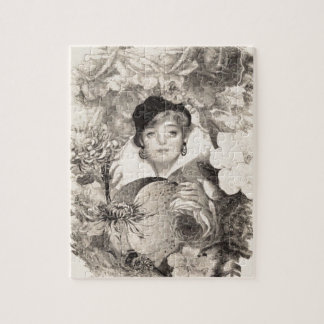 グランジなヴィンテージの女性の花園 ジグゾーパズル
