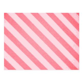 グランジなヴィンテージキャンデーのストライプの珊瑚の柿 ポストカード