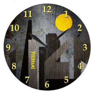 グランジな冬錆ついた都市幾何学的で平らな都市 ラージ壁時計