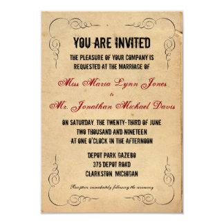 グランジな包装紙3x5の結婚式招待状の赤 カード