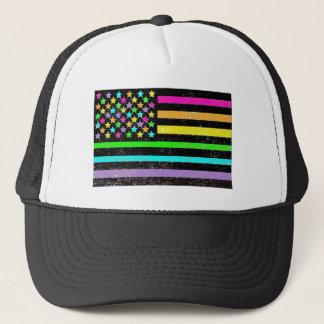 グランジな明るいネオン米国旗 キャップ