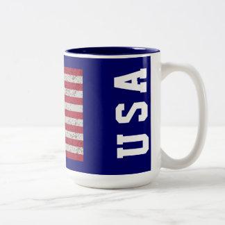 グランジな星条旗米国のマグ ツートーンマグカップ