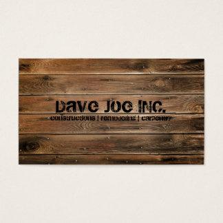 グランジな木製の質の建築の大工仕事 名刺