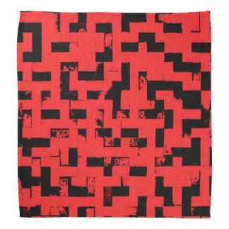 グランジな正方形、赤い生地パターンの黒い煉瓦 バンダナ